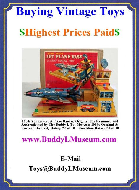 Vintage Space Toys Reference Guide, Vintage Space Toys Values, Buddy L Toys Value Guide, German Tin Toys Value Guide, Linemar tin toys, yonezawa tin toys, buying buddy l trucks, buddy l toys identification guide