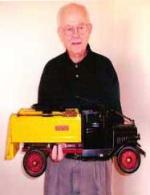 Original Buddy L Truck owner holding his childhood Buddy L Ice Truck 1920's Buddy L Trucks, Buddy L Museum buying vintage antique toys highest prices paid